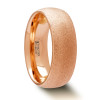 Andreas Domed Tungsten Carbide Wedding Band with Rose Gold Plating and Sandblasted Crystalline