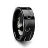 Asteius Fishing Hook Pattern Engraved Black Tungsten Wedding Band