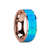Neferkare 14k Rose Gold Wedding Band with Blue Opal Inlay