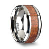 Epicles Tungsten Wedding Band with Exotic Mahogany Hard Wood Inlay