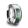 Martin Tungsten Carbide Wedding Band with Mother of Pearl Inlay