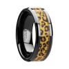 Haaken Black Ceramic Wedding Band with Cheetah Print Inlay