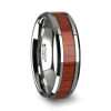 Narra Tungsten Wood Wedding Band with Padauk Wood Inlay