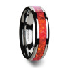 Francis Tungsten Wedding Band with Red Opal Inlay