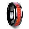 Berengar Black Ceramic Wedding Band with Red Opal Inlay