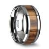 Rupert Tungsten Carbide Wedding Band with Real Zebra Wood Inlay