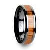 Arnulf Black Ceramic Wedding Band with Teak Wood Inlay