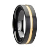 Cerdic Black Ceramic Wedding Band With Yellow Gold Groove