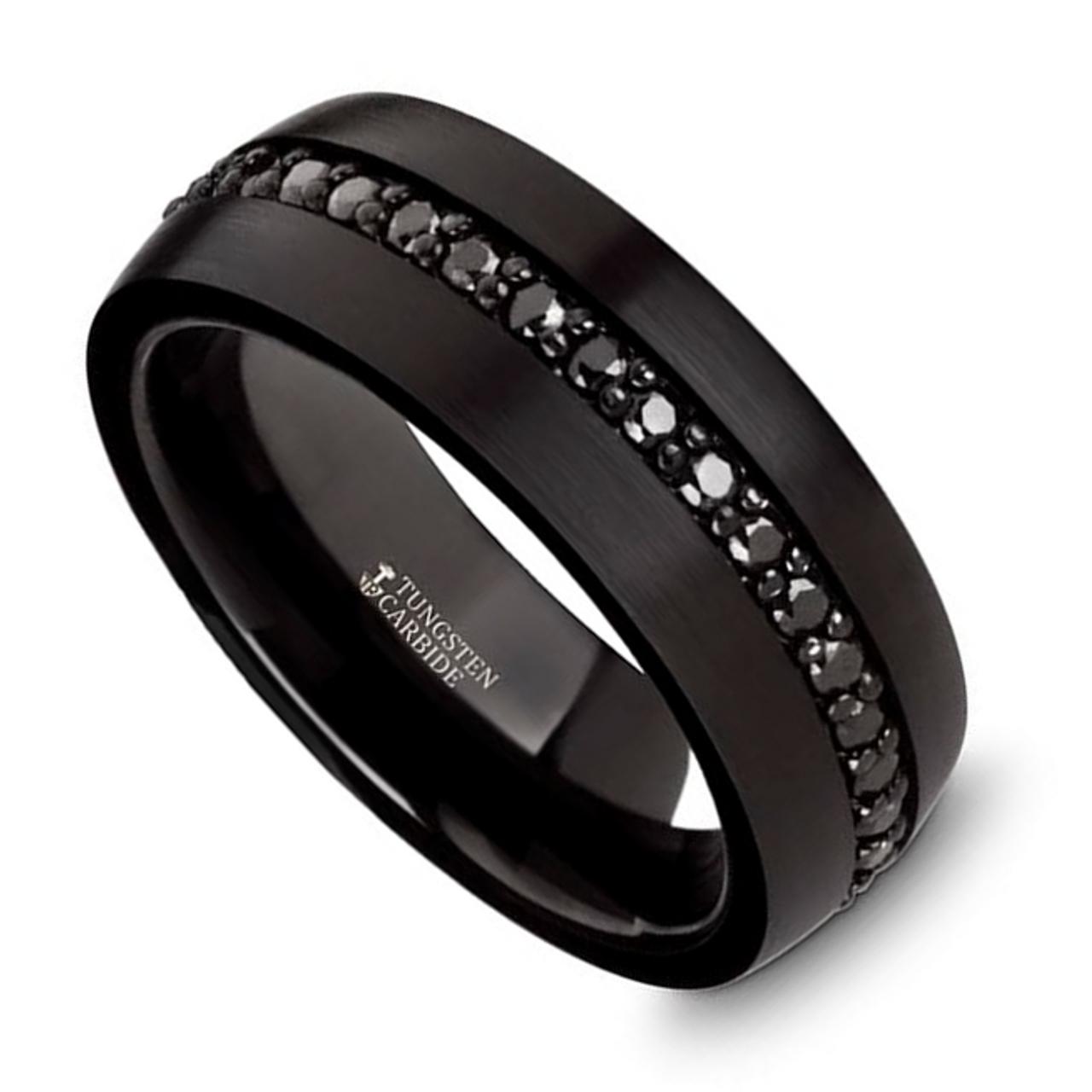 Ernst Black Tungsten Carbide Mens Wedding Band With Black Sapphires