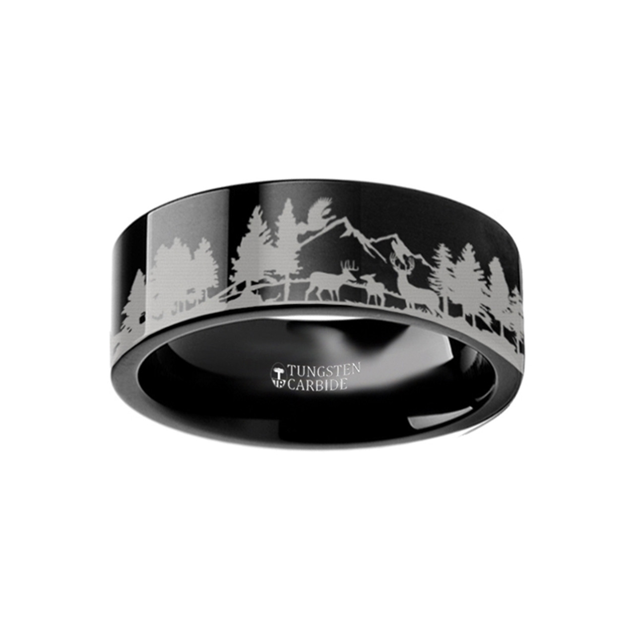 Cynric Scene With Deer And Mountain Range Engraved Black Tungsten Wedding Band