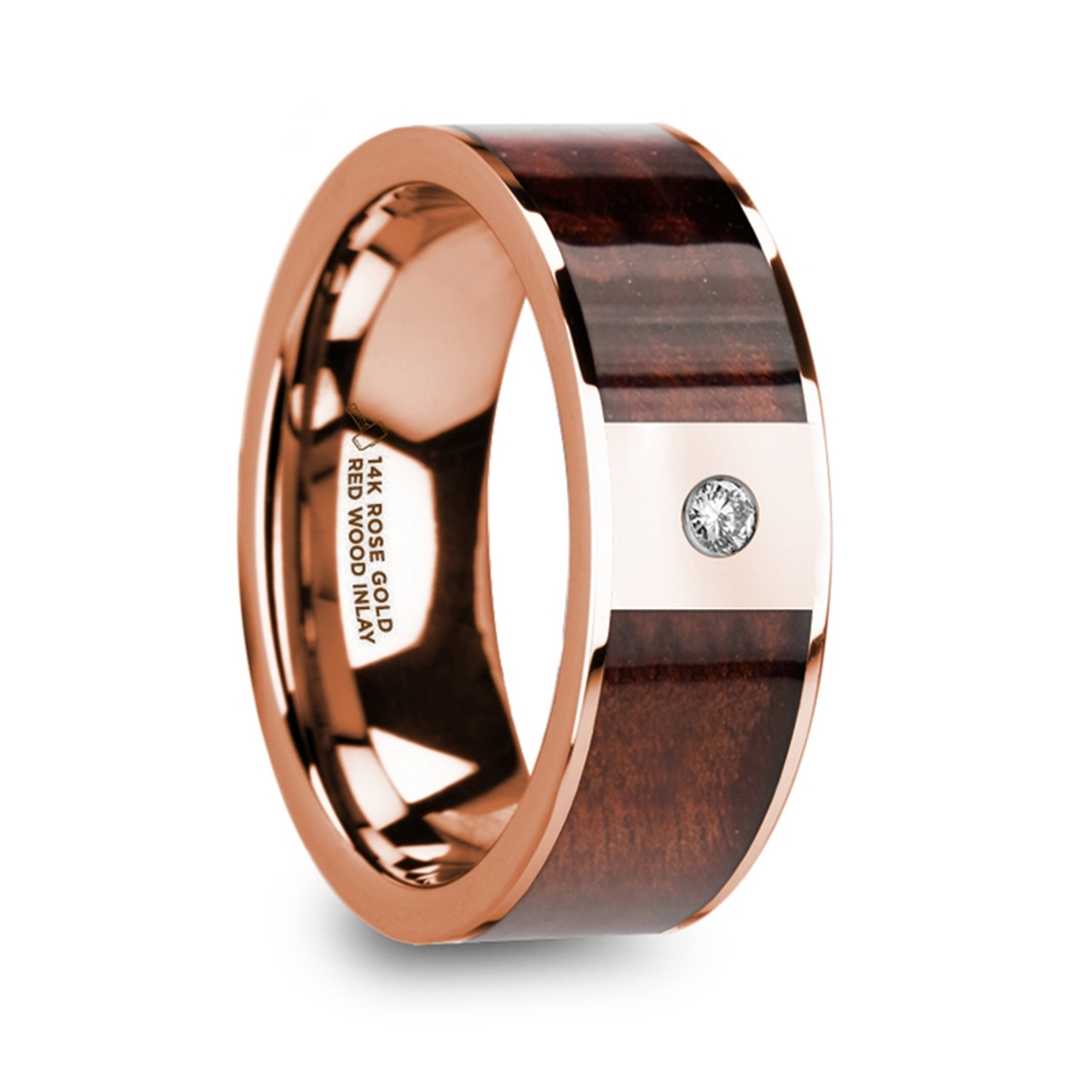 Edward 14k Rose Gold Mens Wedding Band With Red Wood Inlay