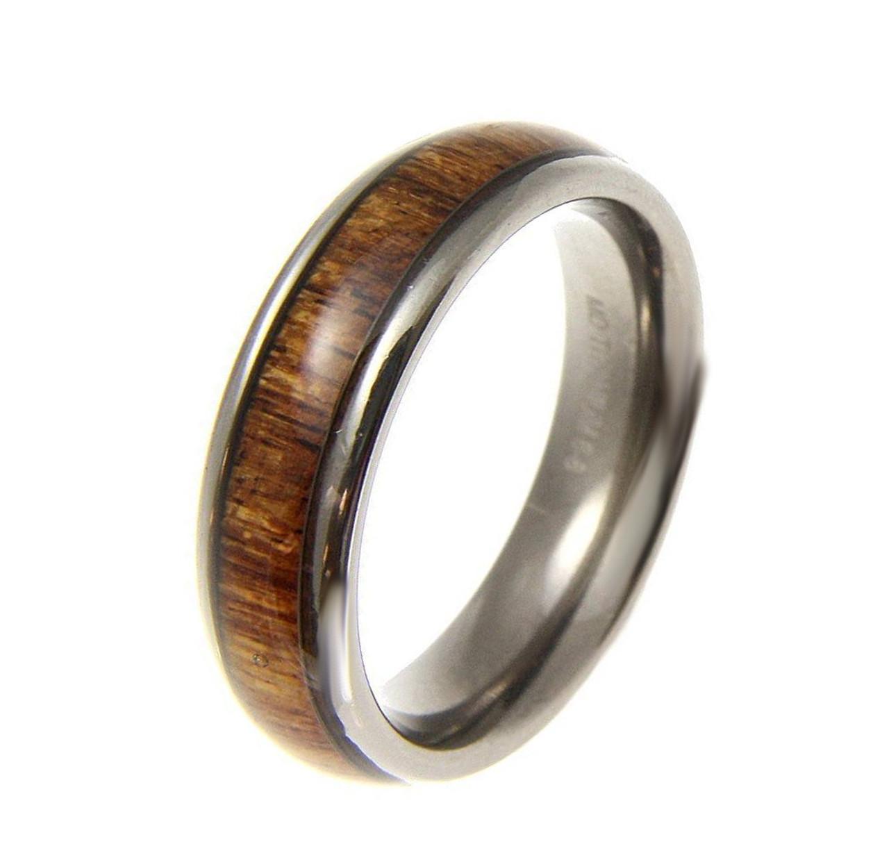 Titanium Wedding Band With Hawaiian Koa Wood Inlay Dome Style: Koa Inlay Wedding Ring At Websimilar.org