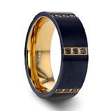 Muramasa Gold & Black Titanium Men's Wedding Band with Black Diamonds