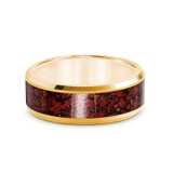 Pyra 14k Yellow Gold Men's Wedding Band with Red Dinosaur Bone Inlay