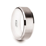 Antares Brushed Men's White Tungsten Wedding Band with White Interior