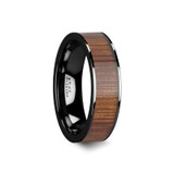 Atreus Black Ceramic Flat Wedding Band with Koa Wood Inlay