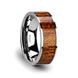 Bolo Flat Tungsten Wedding Band with Mahogany Wood Inlay