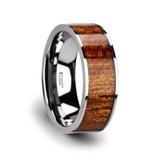 Bolo Flat Tungsten Wedding Band with Mahogany Wood Inlay
