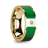 Dinos 14k Yellow Gold Men's & Textured Green Inlay Wedding Band with Diamond