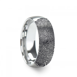 Fingerprint Engraved Domed Brushed Tungsten Brushed Wedding Band