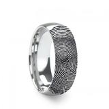 Fingerprint Engraved Domed Brushed Tungsten Brushed Wedding Band