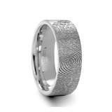 Thudemus Fingperprint Engraved Brushed Tungsten Wedding Band