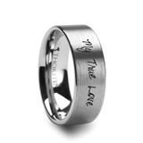 Handwritten Engraved Flat Brushed Tungsten Wedding Band