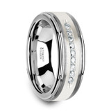 Harper Raised Center Tungsten Wedding Band with Brushed Silver Inlay & 9 Diamonds