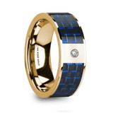 Helioso Flat 14k Yellow Gold Men's Wedding Band with Blue & Black Carbon Fiber Inlay & Diamond