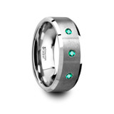 Icarus Brushed Tungsten Men's Wedding Band with 3 Emeralds