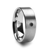 Irenaeus Flat Brushed Tungsten Men's Wedding Band with Black Diamond