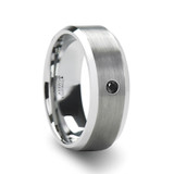 Lysandra Brushed Men's Black Tungsten Wedding Band with Diamond