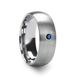 Melanthios Men's Domed Brushed Tungsten Wedding Band with Blue Diamond