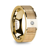 Metis 14k Yellow Gold Men's Wedding Band with Ash Wood Inlay & Diamond