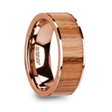 Milos Flat 14k Rose Gold Men's Wedding Band with Red Oak Wood Inlay