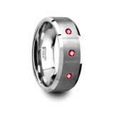 Nereus Brushed Flat Tungsten Wedding Band with Rubies