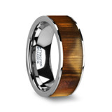 Olivaster Flat Tungsten Wedding Band with Olive Wood Inlay