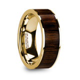 Pelagia 14k Yellow Gold Men's Wedding Band with Black Walnut Inlay