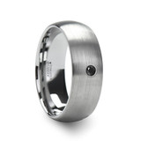 Perseid Tungsten Brushed Domed Wedding Band with Black Diamond