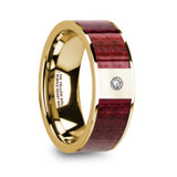 Phile 14k Yellow Gold Men's Wedding Band with Purpleheart Inlay & Diamond