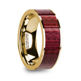 Philo 14k Yellow Gold Men's Wedding Band with Purpleheart Wood Inlay