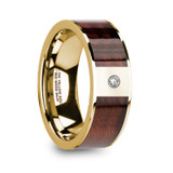 Phocas 14k Yellow Gold Men's Wedding Band with Red Wood Inlay & Diamond