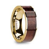 Phoibos Flat 14k Yellow Gold Men's Wedding Band with Red Wood Inlay