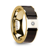 Sergios 14k Yellow Gold Men's & Ebony Wood Inlay Flat Wedding Band with Diamond