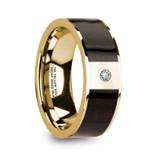 Sergios 14k Yellow Gold Men's & Ebony Wood Inlay Flat Wedding Band with Diamond