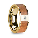 Spyros 14k Yellow Gold Men's Wedding Band with Sapele Wood Inlay & Diamond