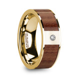 Stephanos 14k Yellow Gold Men's & Rosewood Inlay Flat Wedding Band with Diamond