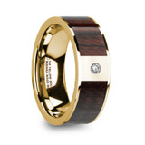 Taras 14k Yellow Gold Men's Wedding Band with Bubinga Wood Inlay & Diamond