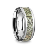 Targaryen Tungsten Men's Wedding Band with Green Dinosaur Bone Inlay