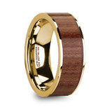 Telamon Flat 14k Yellow Gold Men's Wedding Band with Rosewood Inlay